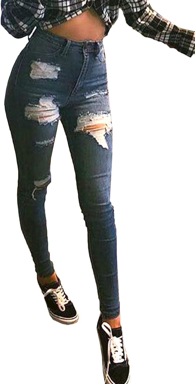 Damen Destroyed Ripped Jeanshose Denim Hochbund Röhrenjeans High Waist Stoffhose