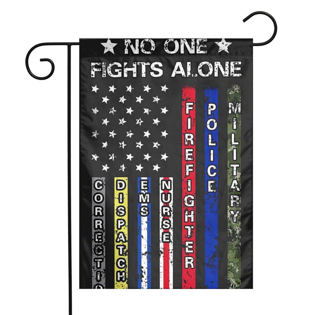 UKFfLlUiKpOdiXojeser No One Fights Alone US Garden Flag, Perfect Decor for Outdoor Yard Porch Patio Farmhouse Lawn, 12 X 18 Inch