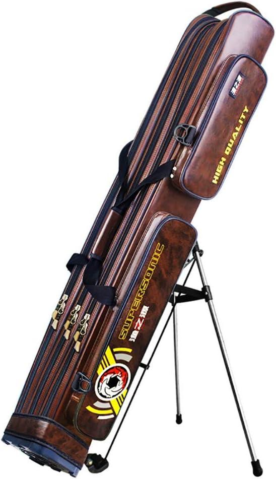 防水大容量ロッドケース 釣竿ケース フィッシングバッグ ポータブル釣りロッドバッグ大容量釣りポールは収納袋屋外防水ジッパーのデザインフィッシングツールバッグタックル (Color : 褐色, Size : 125X16X17CM) 褐色 125X16X17CM
