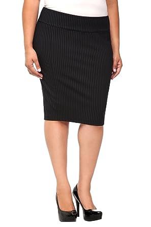 22176badf Amazon.com: Black Pinstripe Pencil Skirt: Clothing