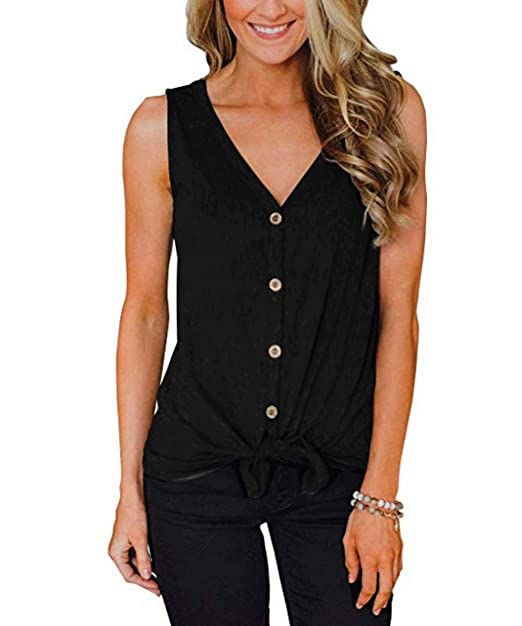 c71102df9eb8d Women s Tie Front Button Down Shirts Sleeveless Casual Blouse Tops(Black-20  ...