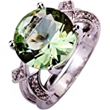 Psiroy 6.5ct Created Green Amethyst Split Shank Band Gemstone Cocktail Statement Ring for Women