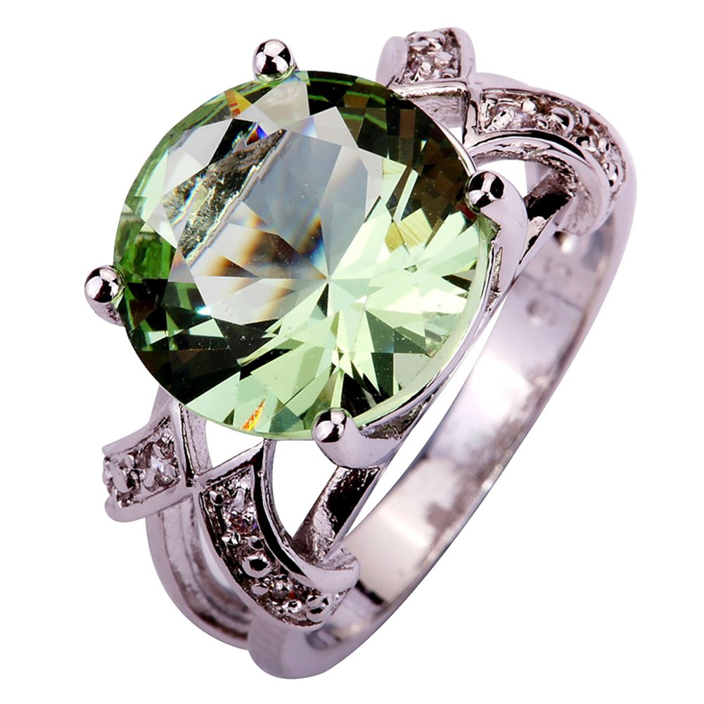 Psiroy 925 Sterling Silver Created Green Amethyst Filled Solitaire Promise Ring Size 10