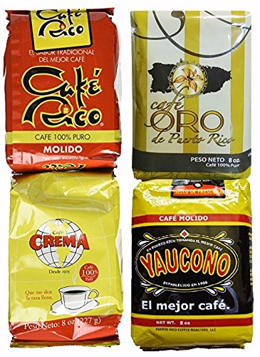 Puerto Rican Variety Pack Ground Coffee - 4 Local Favorites in 8 Ounce Bags V.2 (2 Pound Total)