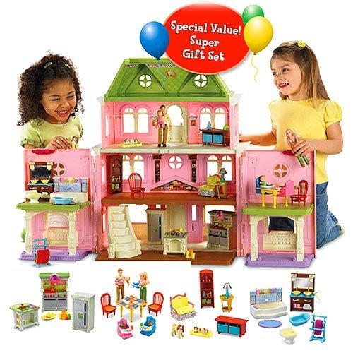 Amazon Com Fisher Price Loving Familytm Grand Dollhouse Super Set