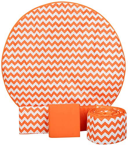 Baby Doll Bedding Chevron 4 Piece Round Crib Bedding Set, Orange