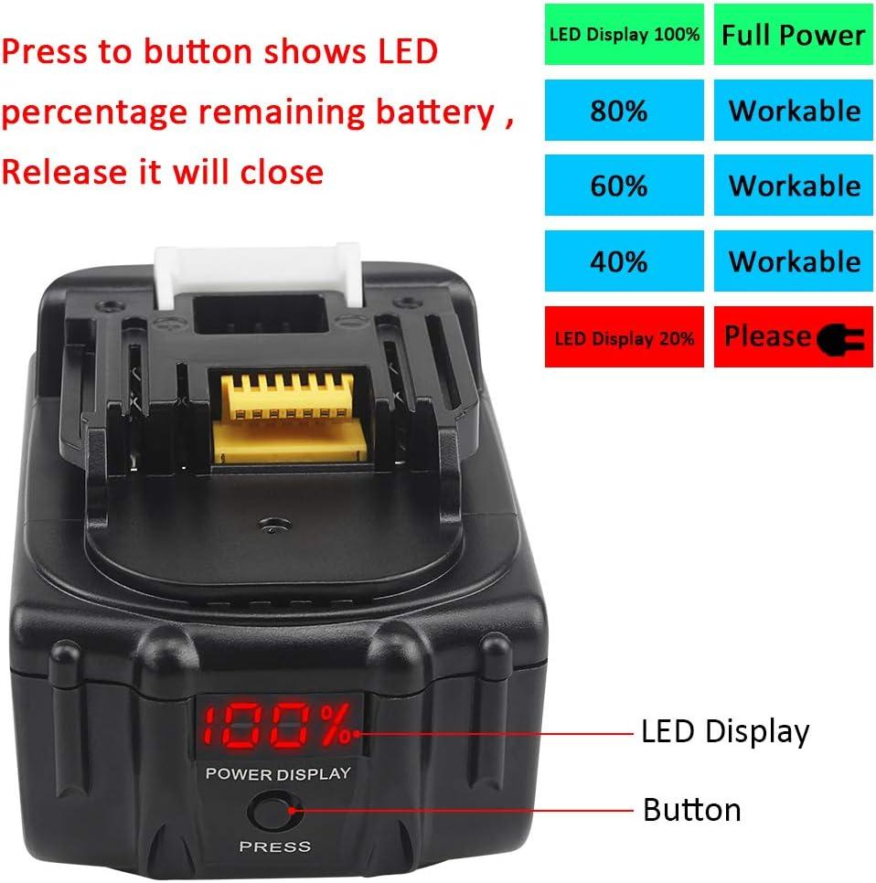 2 Pack Waitley BL1830 18V 5.0Ah Batterie de remplacement pour Makita 5000mAh BL1840 BL1850 BL1860 Batterie avec afficheur de puissance /à LED