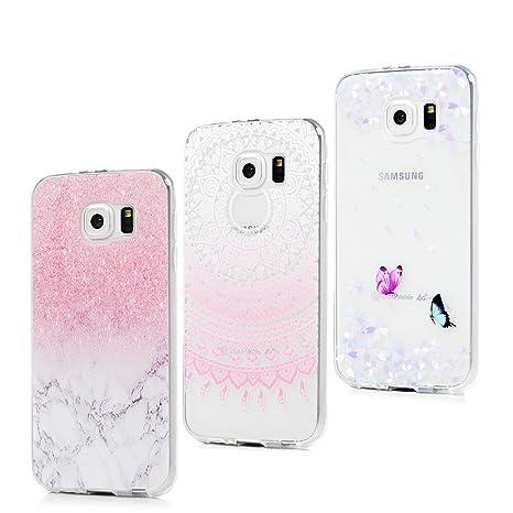 3x Funda para Samsung Galaxy S6, Carcasa Silicona Gel Case Ultra Delgado TPU Goma Flexible Cover para Samsung Galaxy S6 - Mármol + Totem Rosa + ...