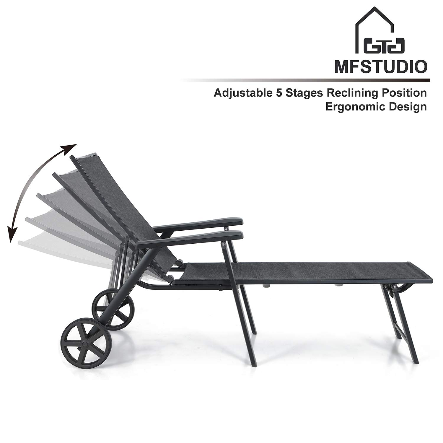 MF STUDIO Sling Chaise Folding Back Adjustable Patio Lounge Chairs Metal Textilene Lounger Recliner Chair W Wheels, Black