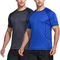 TSLA Men's (Pack of 1, 2) Rash Guard Swim Shirts, UPF 50+ Quick Dry Mid/Short Sleeve Swimming Shirt, UV/SPF Water Surf…