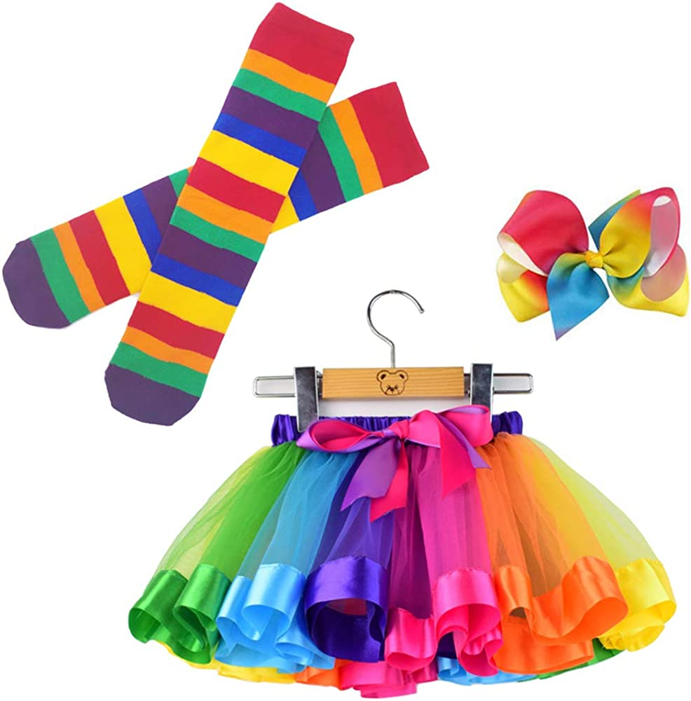 BGFKS Little Girls Tutu Outfit,Layered Ballet Tulle Rainbow Tutu Skirt with Hairbow and Long Stockings or Birthday Sash