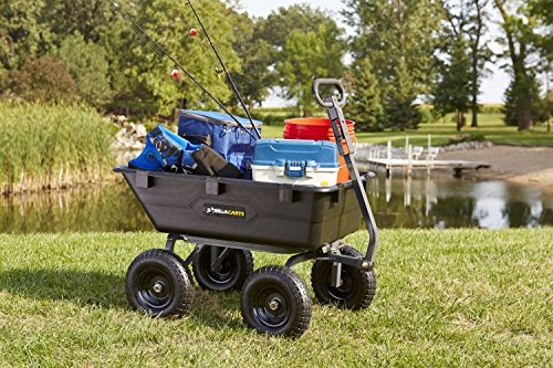 Gorilla Carts GOR6PS Heavy-Duty Poly Yard Dump Cart with 2-In-1 Convertible Handle, 1,200-Pound Capacity, Black