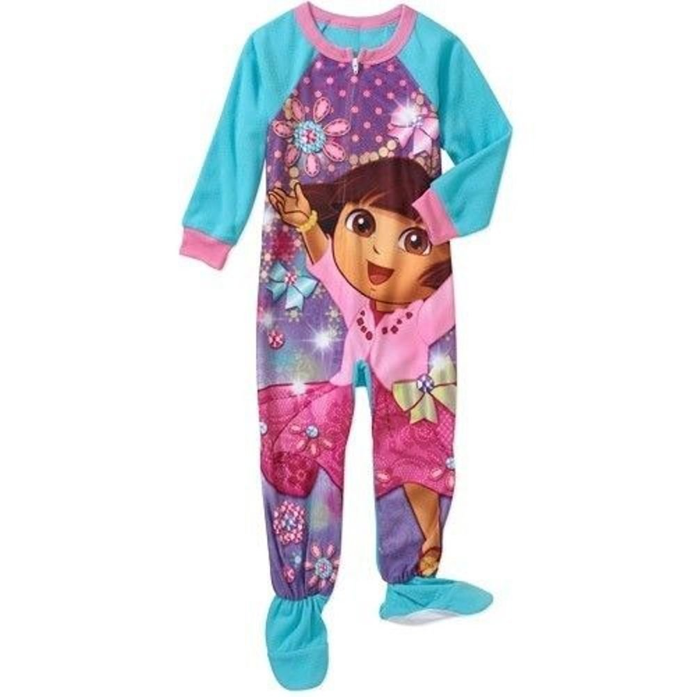 Dora the Explorer Nickelodeon Toddler Girl Footed Blanket Pajama Size 4T