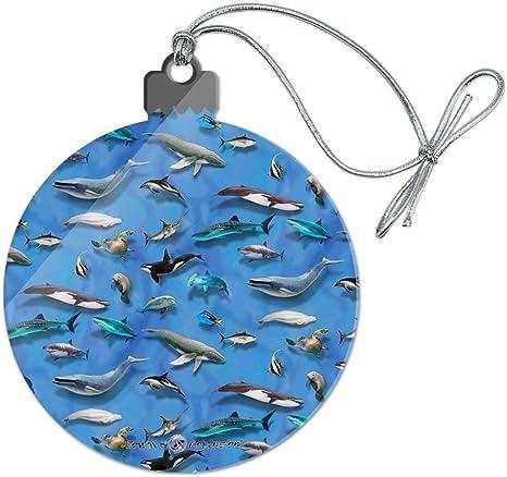Pendant Christmas Fish Sea Whale Shark Christmas Bauble Christmas Tree Ornament Glass