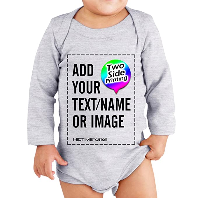 7205e8523 Custom Baby Long Sleeve Bodysuit,Personalized Design Your Own 2 Sided Onesie  Grey