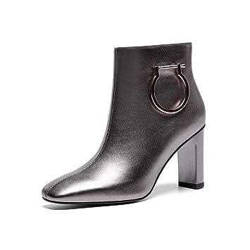YAN Botines para Mujer, Botines con Cremallera Lateral Otoño Invierno Cabeza Cuadrada Tacones Altos Adornos de Metal Zapatos de Cuero Zapatos de Vestir: ...