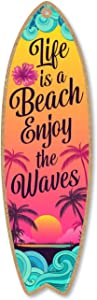 Honey Dew Gifts Life is a Beach Enjoy The Waves, 5 inch by 16 inch Surfboard, Wood Sign, Tiki Bar Decoration, Beach Themed Decor, Decorative Wall Sign, Home Decor