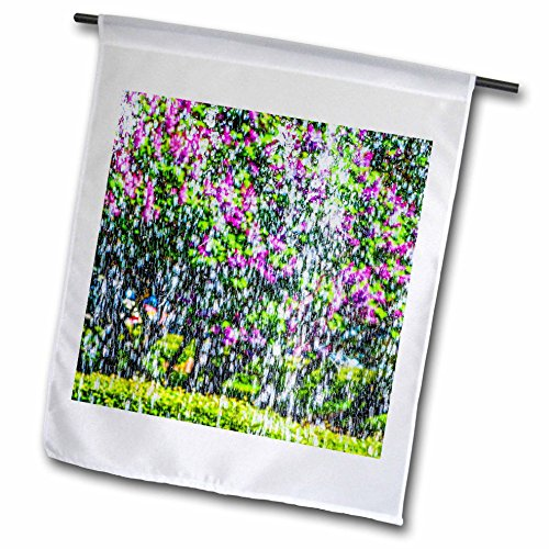 3dRose Alexis Photography - Abstracts - Impressionism of the first water. Lilac bush behind the fountain - 18 x 27 inch Garden Flag (fl_270631_2) by 3dRose