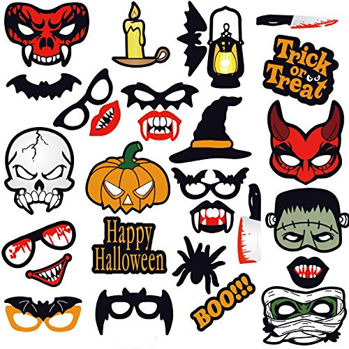 (Seasons Stars 2018 Halloween Photo Booth Props(28pcs) for Halloween Party Supplies, Creepy Costume Props with Sticks for Kids Boy Girl,Black,Red Trick or Treat Décor)