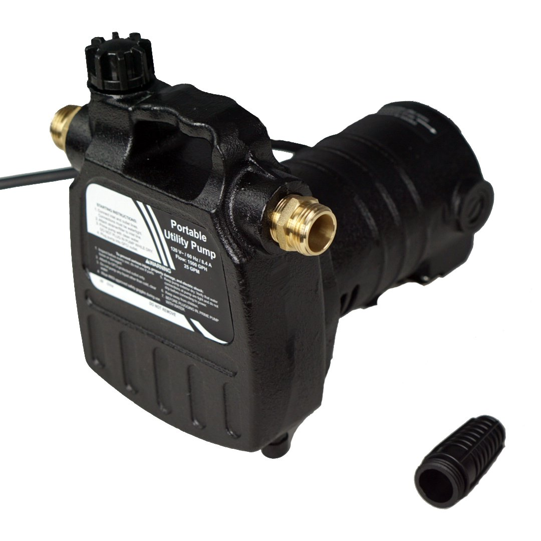 HydraPump Pro - 115-volt 1/2HP 1500 GPM Portable Transfer Water Pump with Cast Iron Casing and Brass Connectors for Use with Standard 3/4'' Hose