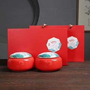YVX Tea Caddy Set Spice Storage Box Ceramic Jar Strong Sealing Gift Boxes Suitable for Food, Spices, Coffee, Tea,Red