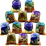 Dinosaur-Party-Supplies-Favors-Bags Drawstring Backpack Bag for Boys Girls Jurassic World Birthday Parties (12 Pack-01)