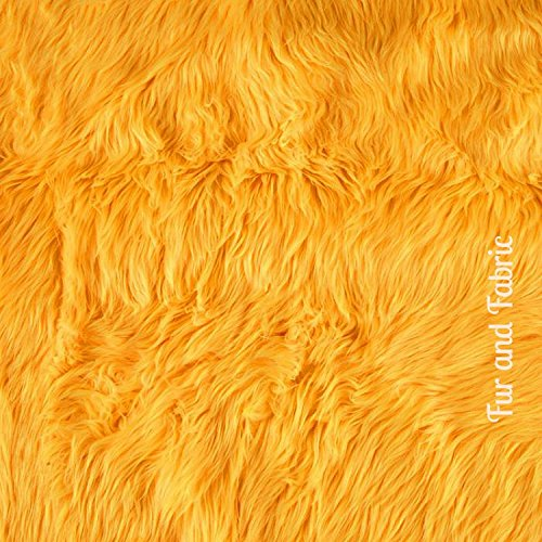 Plush Faux Fur - Cut Yardage - Yellow Gold - Shaggy Shag by the Yard - Acrylic and Polyester Fur Accents Fur and Fabric Brand (Gold Faux Fur)
