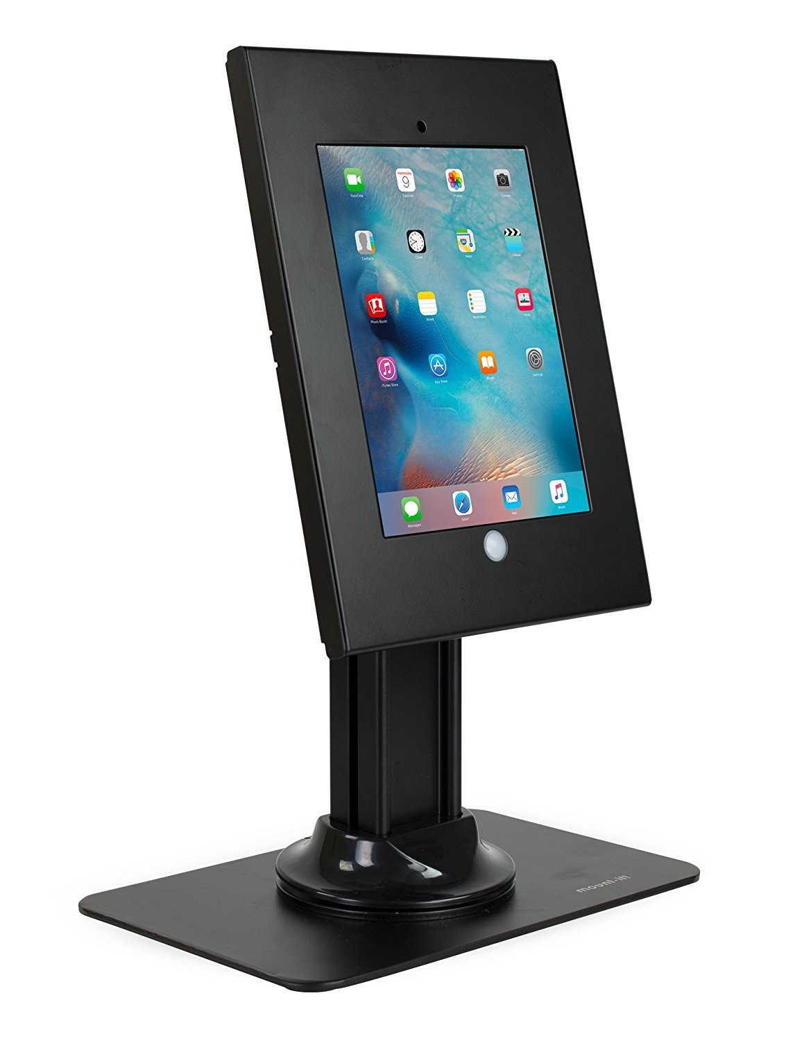 Mount-It! Full Motion iPad Security Stand, Locking Kiosk Tablet Holder, Fits iPad 2, 3, 4, iPad Air, and 9.7 Inch Tablets, Desk Stand, Black