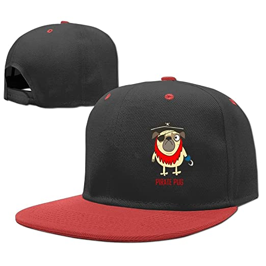 08bf7521d6442 Amazon.com  Kids Pirate Pug Adjustable Hip Hop Baseball Hat Custom Cap for  Children  Clothing