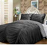 3 Piece Queen Size Solid Black Embroidered Ruched Ruffle Wrinkle Reversible Chevron Pattern Comforter Set Teen Girl Bedding Vogue Bedspread College Teenager Room Dorm Young Adult Bedset Pretty Fashion