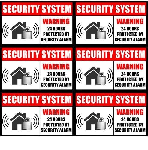 """Outdoor/Indoor (6 Pack) 3.54"""" wide X 2.24"""" high Home Business Security Burglar Alarm System Window Door Warning Alert Sticker Decals **Back Self Adhesive Vinyl**"""