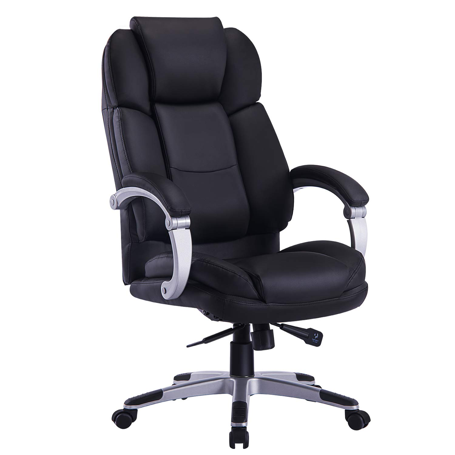 High Back Leather Executive Office Chair - Adjustable Recline Locking Mechanism, Linkage Arms Computer Desk Chair, Thick Padding and Ergonomic Design for Lumbar Support (Black) ASNL001 (Black)