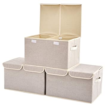 Collapsible Fabric Shelf Box Organizer with Handles for Bathroom Multi Shelves Nursery Home and Office EZOWare 6 Pcs Cube Storage Bin Baskets 10.5 x 10.5 x 10.5 inch