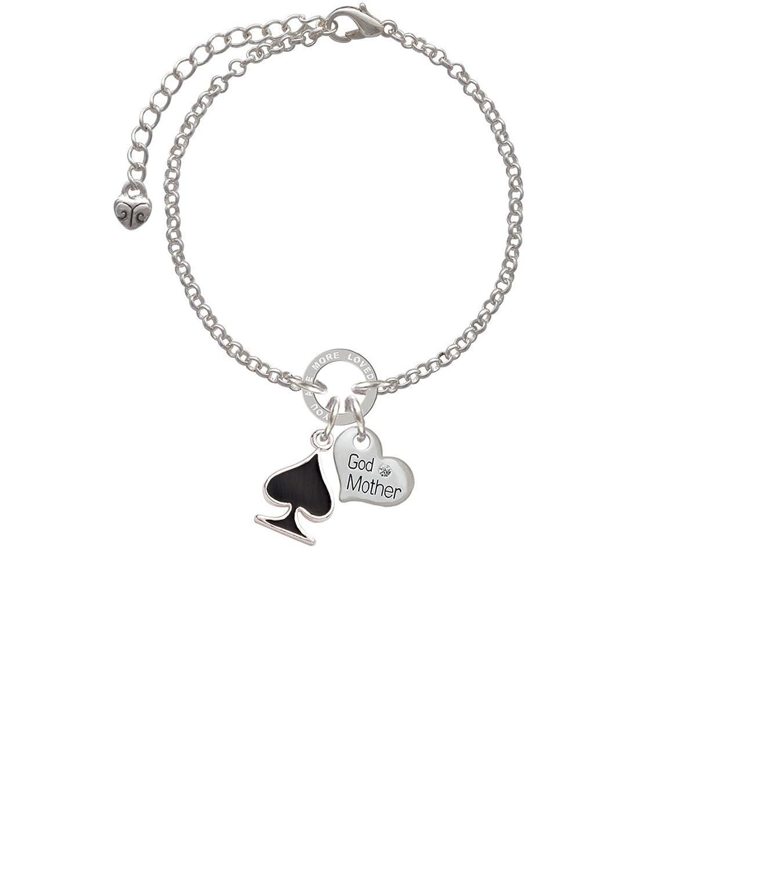 8 Silvertone Card Suit Black Spade Godmother You Are Loved Circle Bracelet