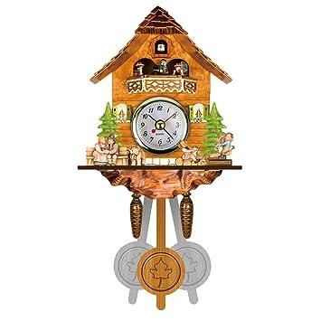 ZREAL Antigua Cuco de Madera Reloj pájaro Tiempo Bell Swing Alarma Reloj casa Art Décor: Amazon.es: Hogar