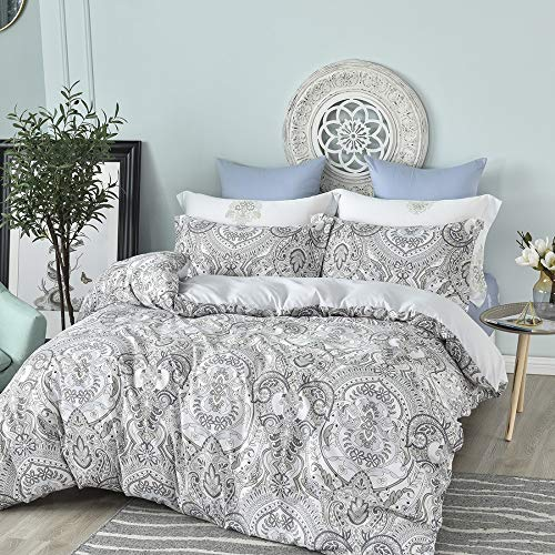 Feelyou Paisley Design Duvet Cover Set King White Black Floral Leaves Pattern Printed Quilt Cover Set Decorative 3 Piece Comforter Cover Set with Zipper Closure for Girls Women Black And White Paisley Duvet Cover