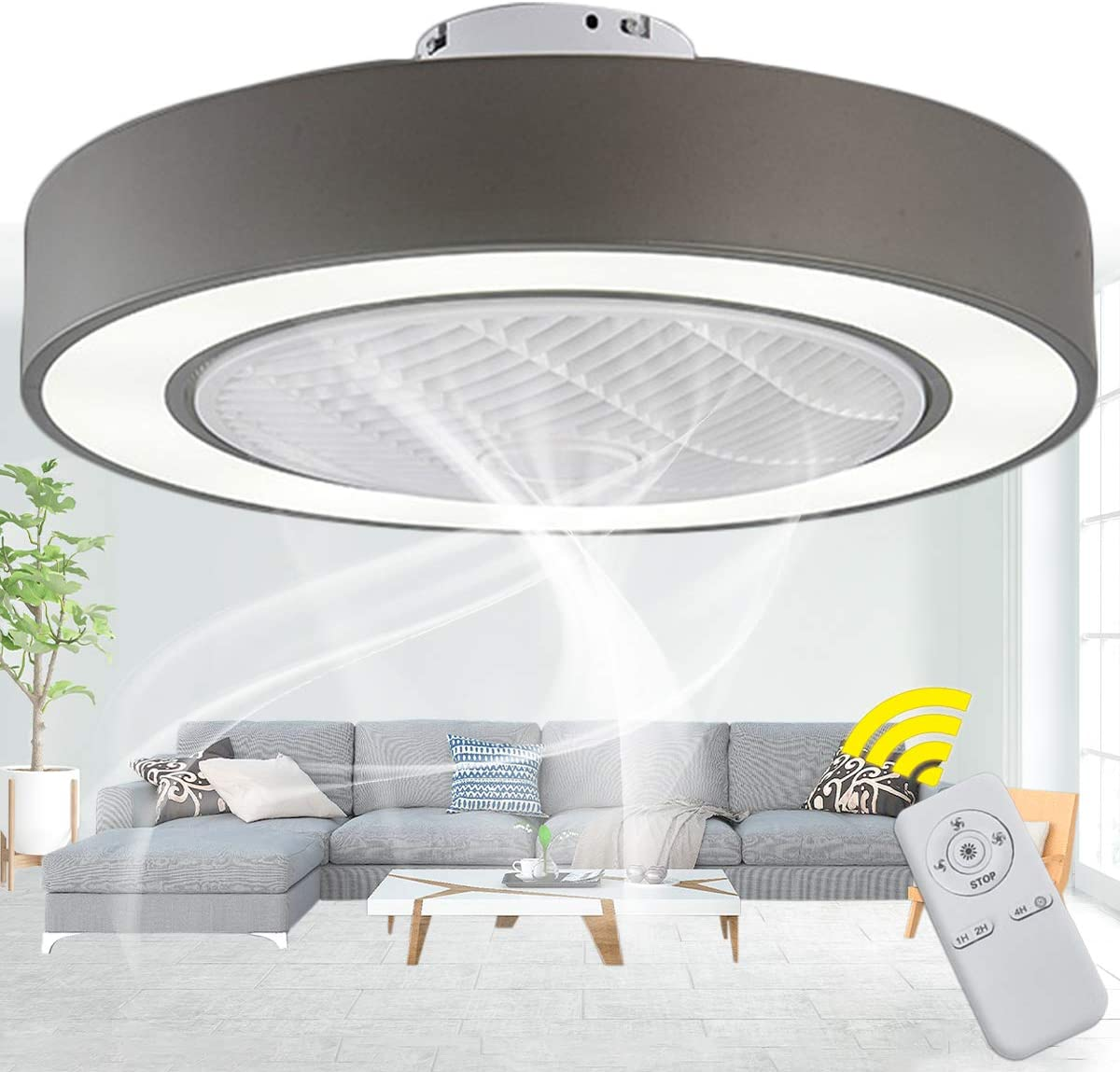 Amazon Com Invisible Ceiling Fan With Light Remote Control Dimmable 3 Speed Led Low Profile Semi Ceiling Lamp Timing Bedroom Dining Living Room Kitchen Dining