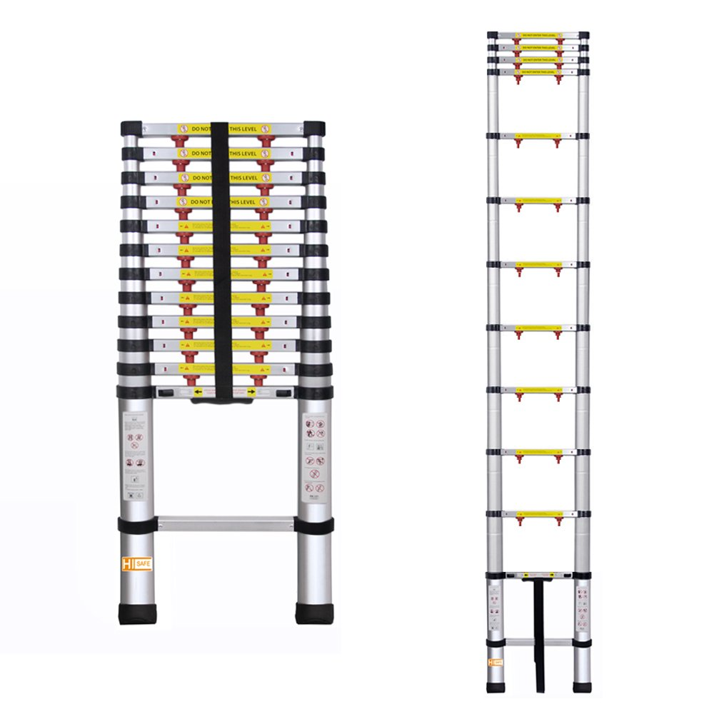 12.5' One-touch Release Telescopic Ladder Portable Aluminum Lightweight w/ Storage Bag, 330Lb by HISAFE (Image #3)
