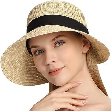 Sun Straw Hat for Women Girls Travel Wide Brim Packable Beach Cap
