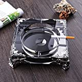Home Ashtray Crystal Glass Cigarettes Windproof Living Room Coffee Table Multi-function Indoor And Outdoor Ashtray Black ( Size : 18CM )