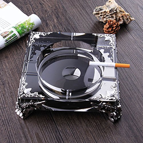 Home Ashtray Crystal Glass Cigarettes Windproof Living Room Coffee Table Multi-function Indoor And Outdoor Ashtray Black ( Size : 18CM ) by LTM Ashtray