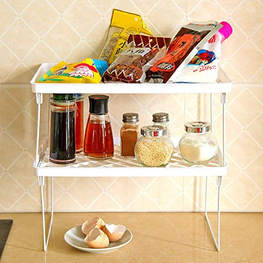 Storage Rack Shelf Foldable Holder Organizer Stackable Bathroom Kitchen Cupboard
