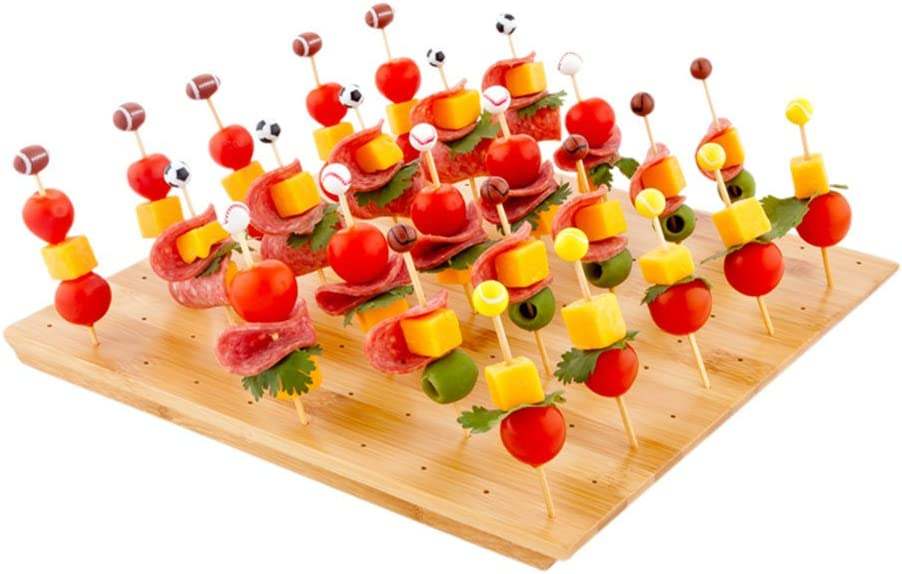12-IN Square Bamboo Food Skewer Holder: Perfect for Cocktail Parties and Catering Events - Biodegradable and Eco-Friendly Pick Stand and Food Display - 100-holes - 1-CT - Restaurantware