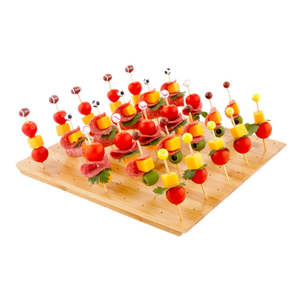 12-IN Curved Bamboo Food Skewer Holder: Perfect for Cocktail Parties and Catering Events – Biodegradable and Eco-Friendly Pick Stand and Food Display – 20-holes – 1-CT – Restaurantware RWB0257