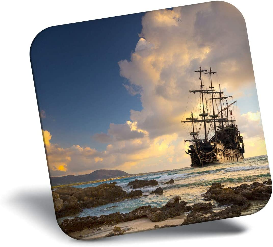 Destination Vinyl ltd Awesome Fridge Magnet - Pirate Ship at Sea Sunset 24027