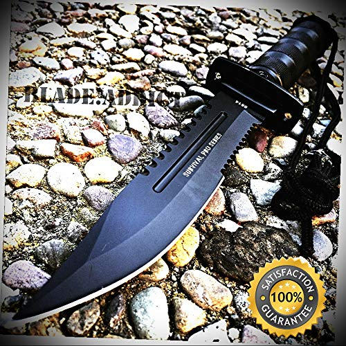 (11'' Fishing Hunting RAMBO Knife w Sheath Bowie Survival Kit Camping - Outdoor For Camping Hunting)