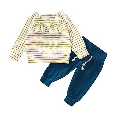 Pantalones Conjunto de Ropa 2Pcs Manga Larga Volantes A Rayas Impresi/ón Tops BBsmile Ropa Bebe Ni/ña Recien Nacido Invierno 0 3 a18 Meses