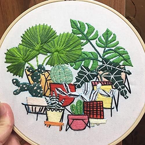 Plant Embroidery Beginner Cross Stitch Needlecraft \u00a0Floral Pattern DIY. Green Plants Cross Stitch Kit Cactus Cross Stitch Kit
