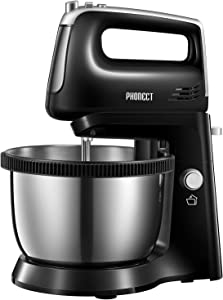 Stand Mixer 2 in 1 Hand Mixer Electric with 3.7 Quarts Stainless Steel Bowl (360°Uniform Rotation), 5 Speed Plus Turbo and Eject Function, Include 2 Beaters & 2 Dough Hooks, 250W