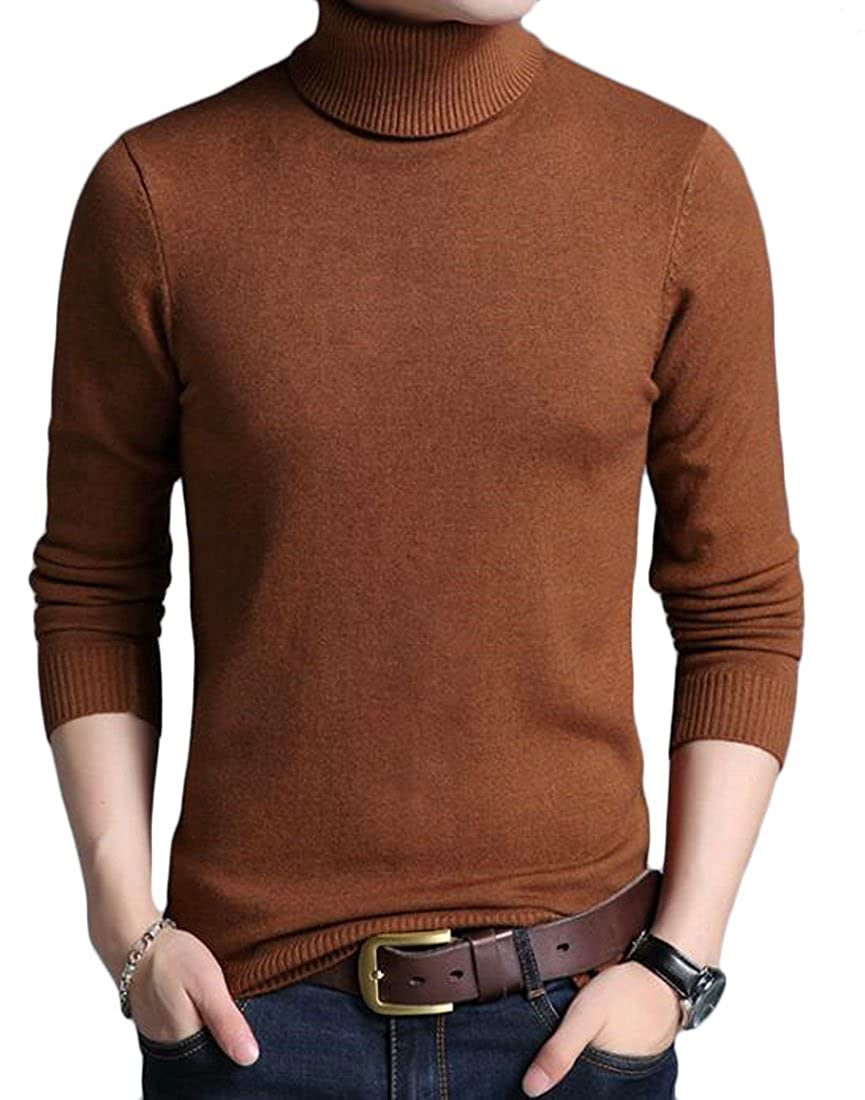 BYWX Men Long Sleeve Pure Color Knitted Turtleneck Fall Sweater